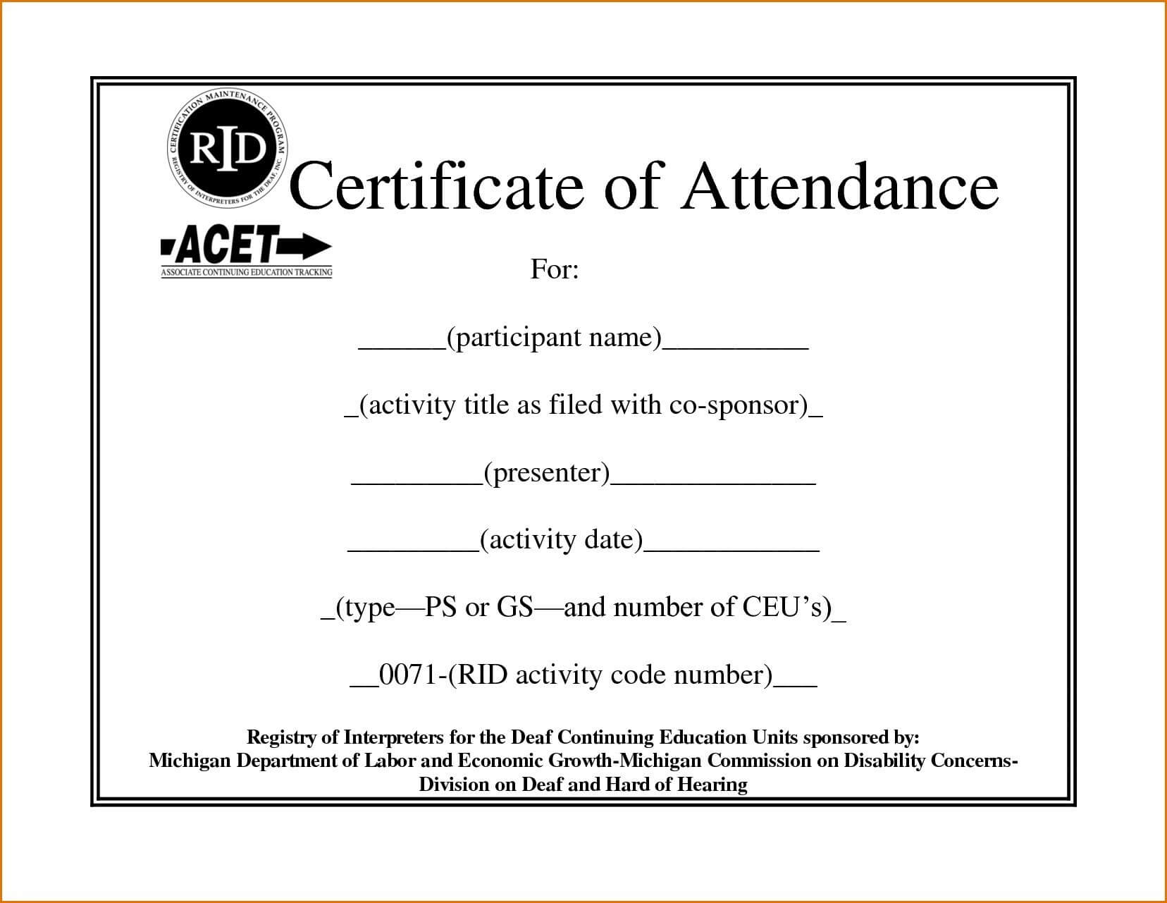 Certificate Of Attendance Template | Certificate Of In Intended For Attendance Certificate Template Word