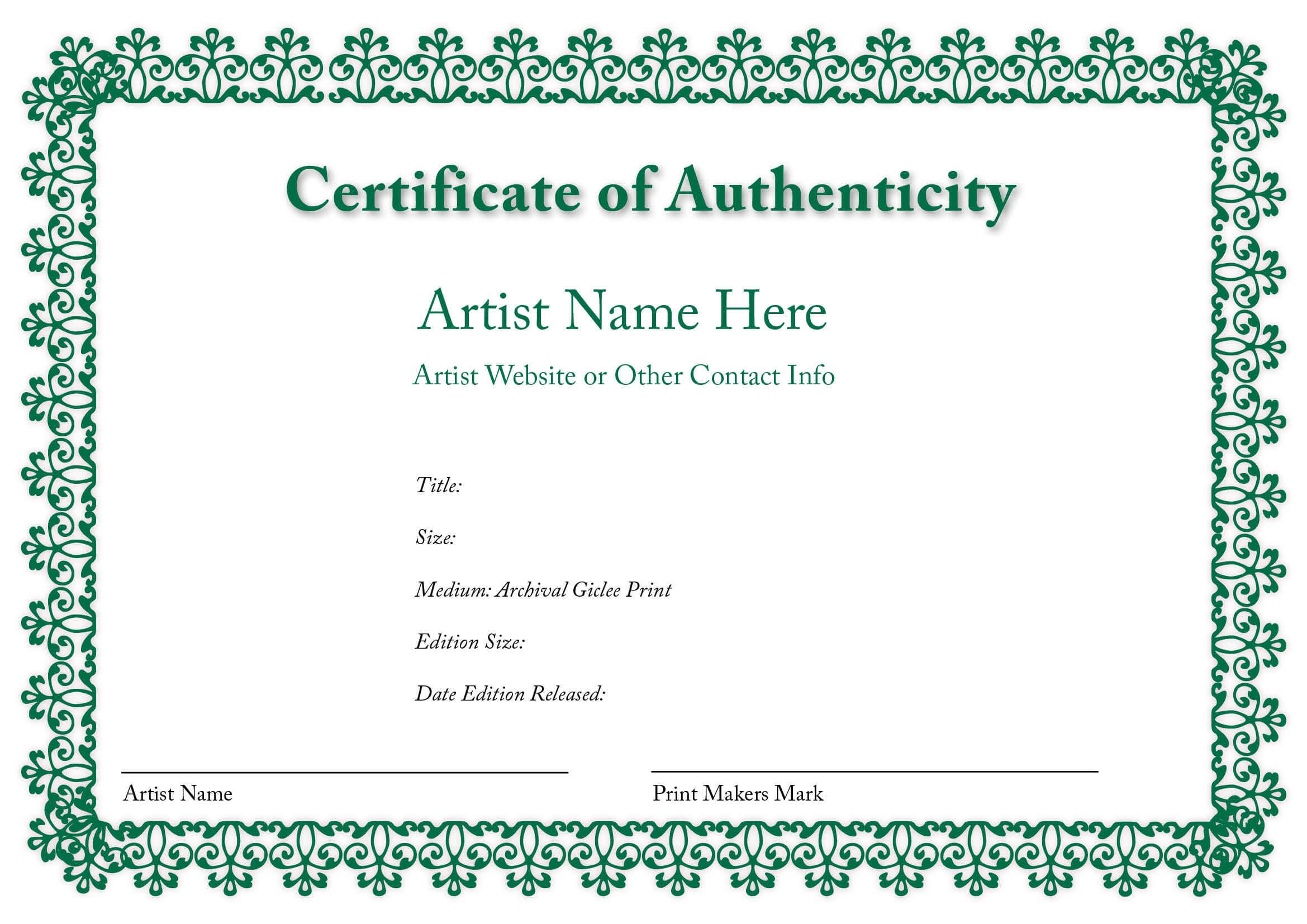 Certificate Of Authenticity Of An Art Print | Certificates Inside Certificate Of Authenticity Template