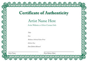 Certificate Of Authenticity Of An Art Print | Certificates with Certificate Of Authenticity Photography Template