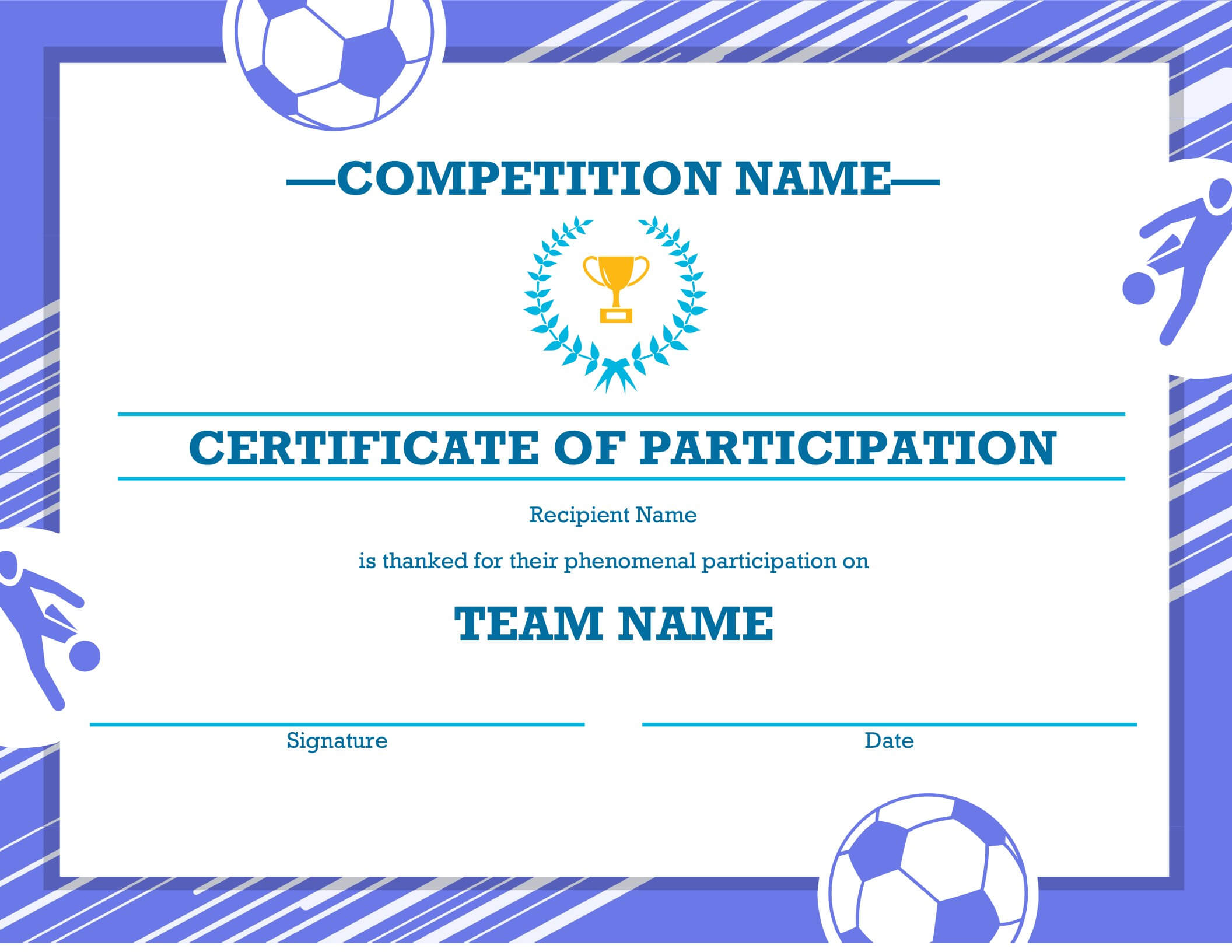 Certificate Of Completion (Blue) Inside Class Completion Certificate Template