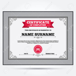 Certificate Of Completion. First Place Award Sign Icon. Prize.. inside First Place Award Certificate Template