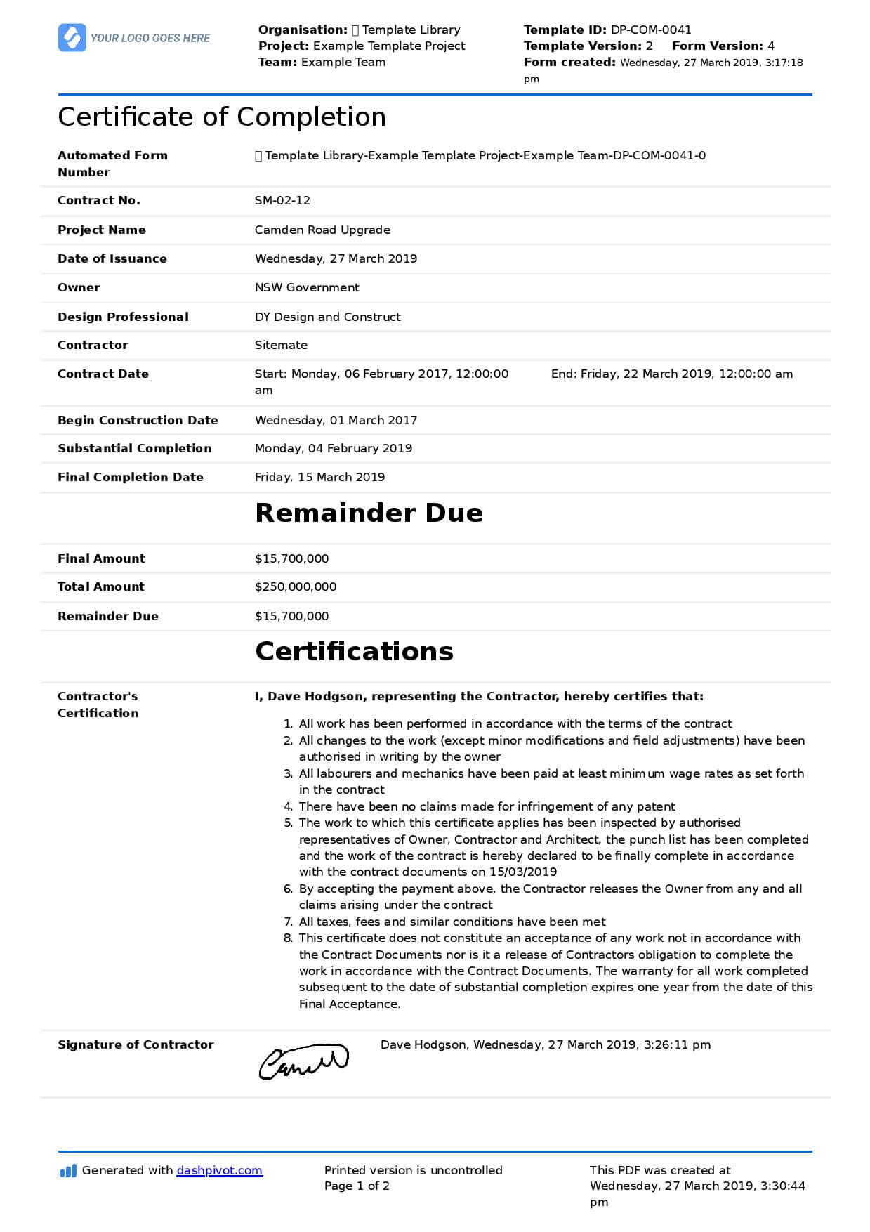 Certificate Of Completion For Construction (Free Template + In Construction Certificate Of Completion Template