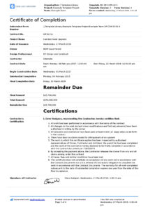 Certificate Of Completion For Construction (Free Template + intended for Construction Payment Certificate Template