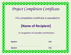 Certificate Of Completion Project | Templates At for Certificate Template For Project Completion