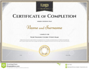 Certificate Of Completion Template In Vector For Achievement with regard to Certification Of Completion Template