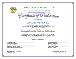 Certificate Of Dedication | Children's Ministry | Baby for Baby Dedication Certificate Template