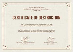 Certificate Of Destruction Template | Anti-Grav pertaining to Hard Drive Destruction Certificate Template