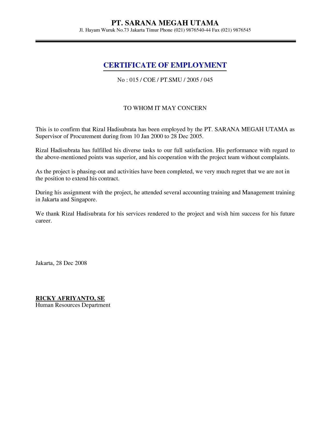Certificate Of Employment Sample Beautiful Sample Regarding Certificate Of Employment Template