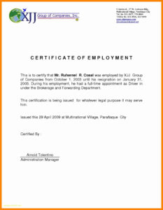 Certificate Of Employment Sample Inspirational 006 intended for Employee Certificate Of Service Template