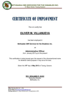 Certificate Of Employment Sample Luxury Certificate Of Pertaining To Sample Certificate Employment Template