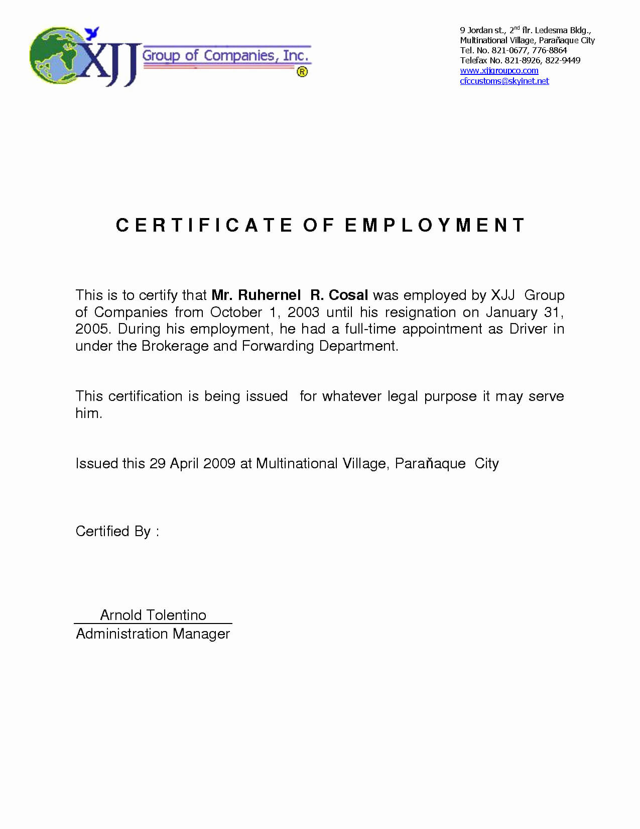 Certificate Of Employment Template Best Of Sample Pertaining To Certificate Of Employment Template