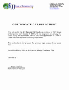 Certificate Of Employment Template Best Of Sample pertaining to Employee Certificate Of Service Template