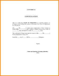 Certificate Of Employment Template Word Free within Template Of Certificate Of Employment