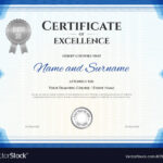 Certificate Of Excellence Template In Blue Theme Throughout Free Certificate Of Excellence Template
