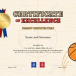 Certificate Of Excellence Template In Sport Theme For Basketball.. Inside Basketball Camp Certificate Template