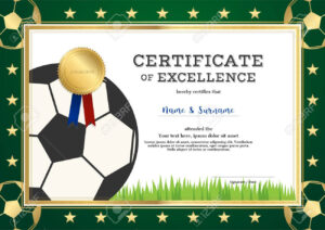 Certificate Of Excellence Template In Sport Theme For Inside Football Certificate Template