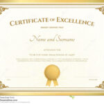 Certificate Of Excellence Template With Gold Border Stock Pertaining To Free Certificate Of Excellence Template