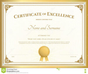 Certificate Of Excellence Template With Gold Border Stock throughout Certificate Of Excellence Template Free Download