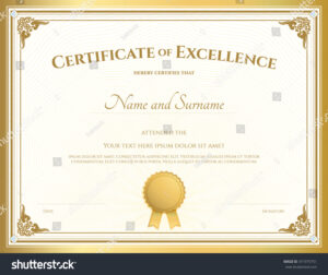 Certificate Of Excellence Template With… Stock Photo throughout Free Certificate Of Excellence Template