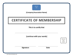 Certificate Of Membership Template Throughout New Member Certificate Template