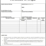 Certificate Of Origin Form | Printableform | Certificate Of in Certificate Of Origin Form Template