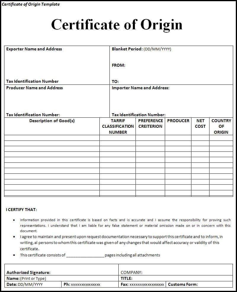 Certificate Of Origin Form | Printableform | Certificate Of In Certificate Of Origin Form Template