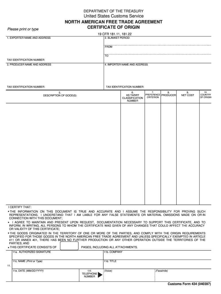 Certificate Of Origin Nafta - Fill Online, Printable Intended For Nafta Certificate Template
