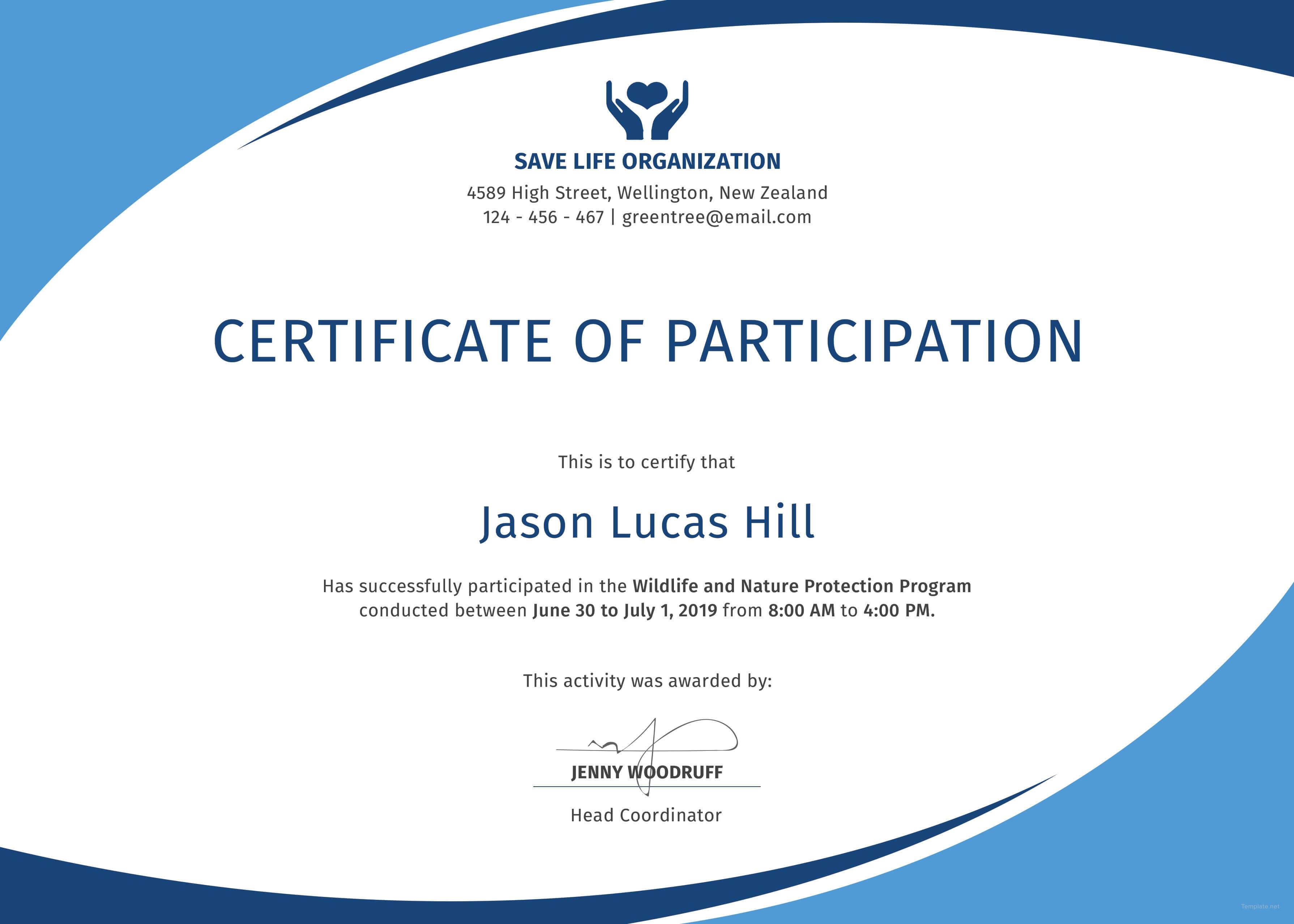 Certificate Of Participation Template 13 – Elsik Blue Cetane For Sample Certificate Of Participation Template