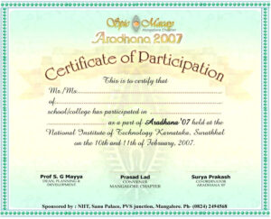 Certificate Of Participation Template 8 – Elsik Blue Cetane pertaining to Conference Participation Certificate Template