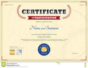 Certificate Of Participation Template In Baseball Sport within Sports Day Certificate Templates Free