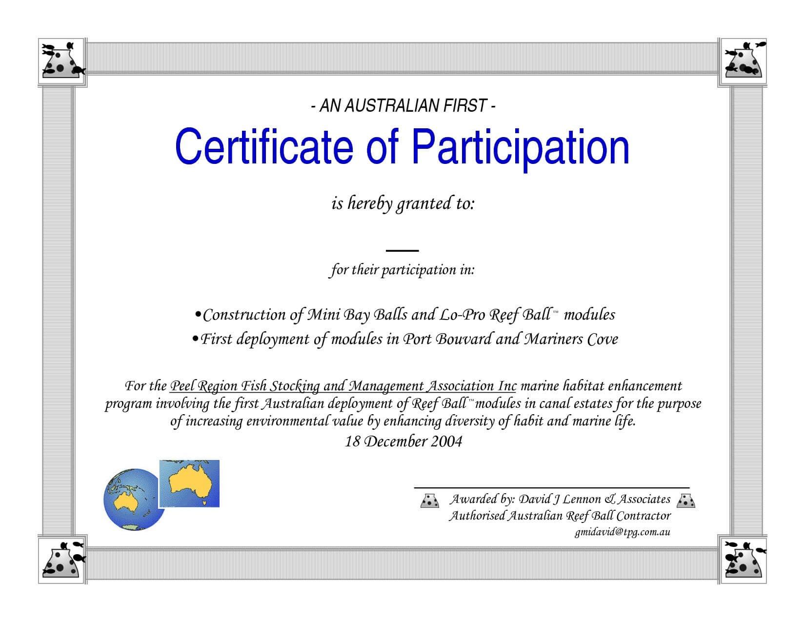 Certificate Of Participation Template Pdf – Bizoptimizer Regarding Certificate Of Participation Template Pdf