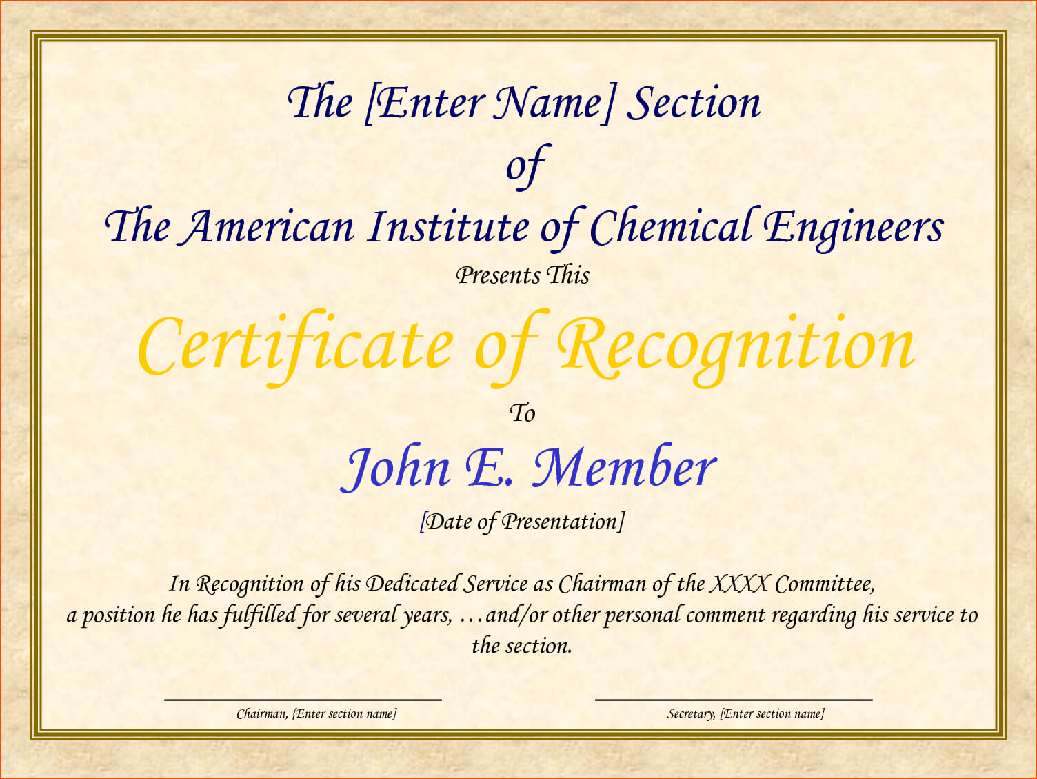 Certificate Of Recognition And Appreciation Template Intended For Sample Certificate Of Recognition Template