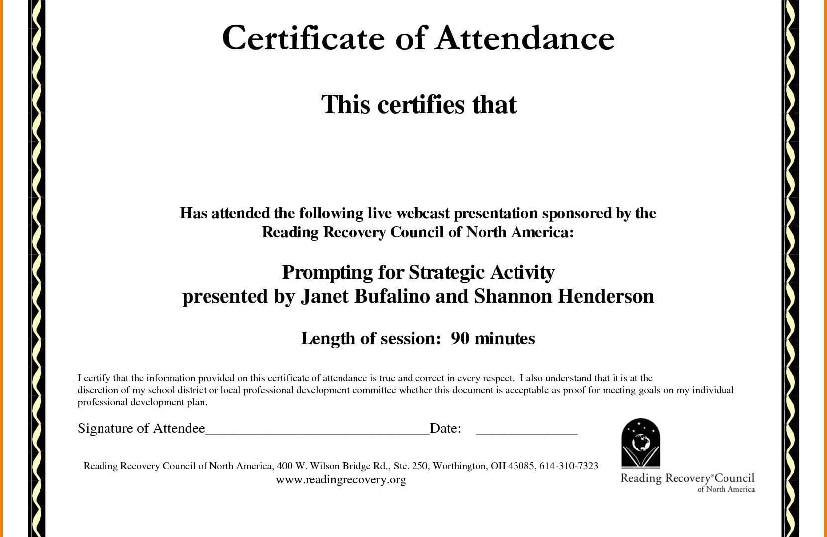 Certificate Of Recognition Template Word Templates In Format For Perfect Attendance Certificate Free Template