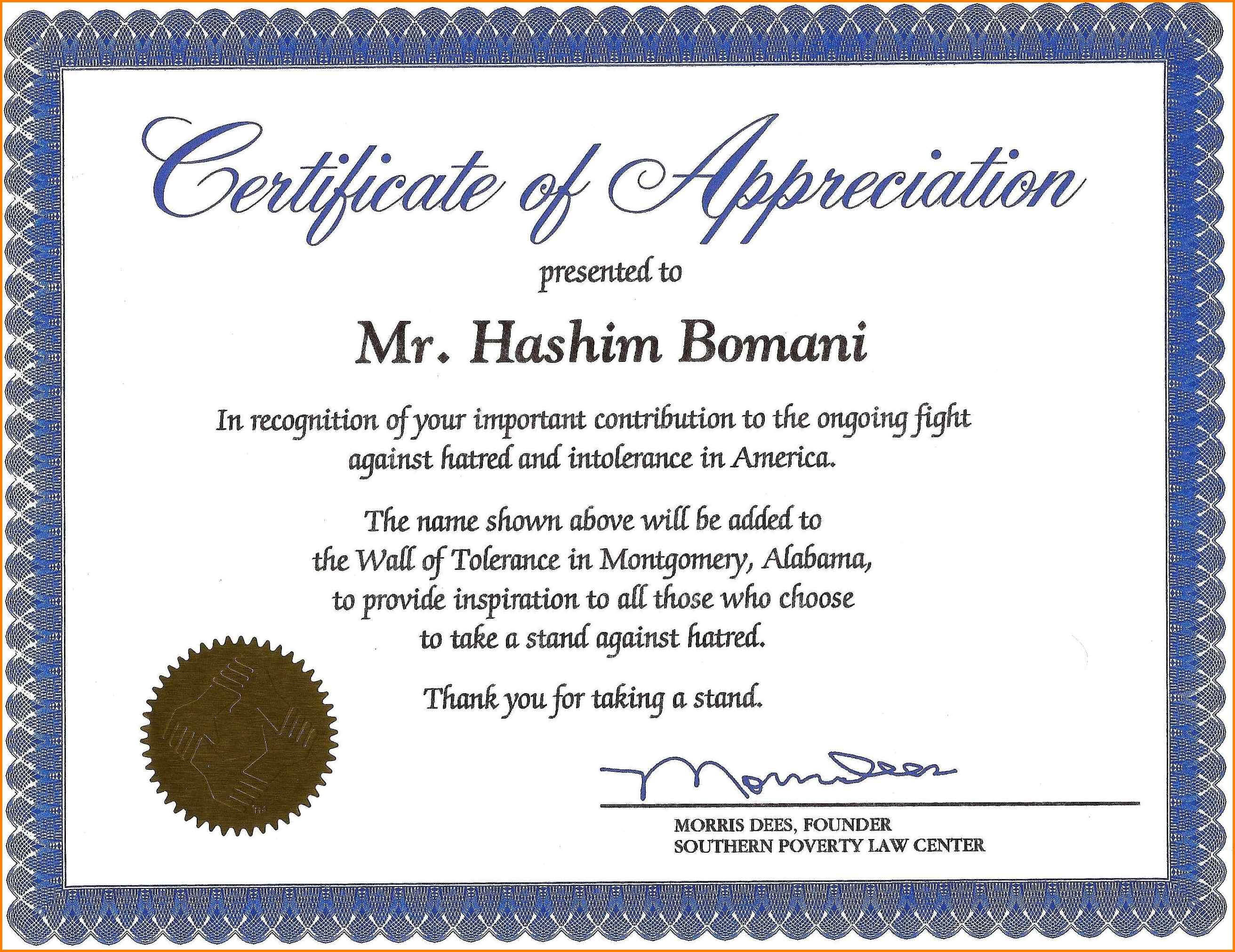 Certificate Of Recognition Wording Copy Certificate Within Volunteer Award Certificate Template