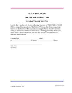 Certificate Of Secretary Re Adoption Of Bylaws | 501C3Go With Regard To Corporate Secretary Certificate Template