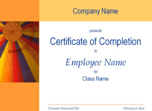 Certificate Of Training Completion Template With Regard To Free Training Completion Certificate Templates