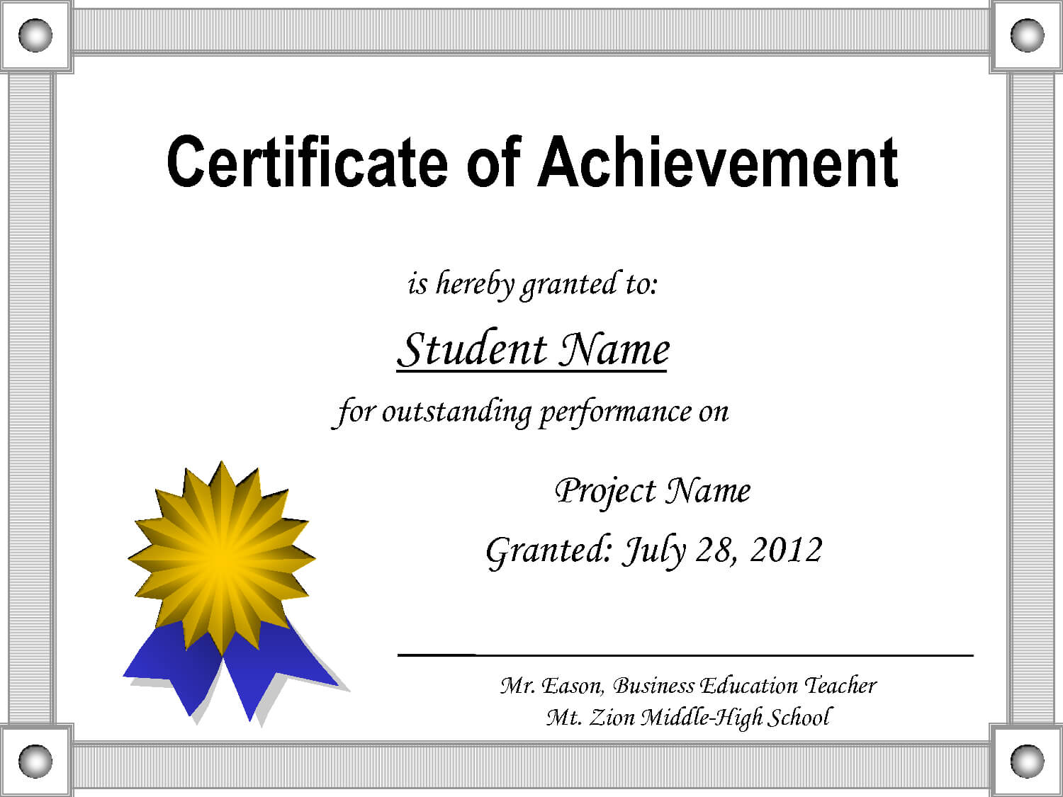 Certificate Scholarshipdzt81982   Chainimage With Certificate Of Attainment Template