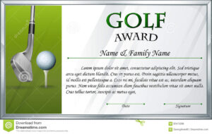 Certificate Template For Golf Award Stock Vector inside Golf Certificate Template Free