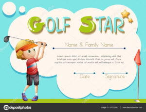 Certificate Template For Golf Star — Stock Vector intended for Golf Certificate Template Free