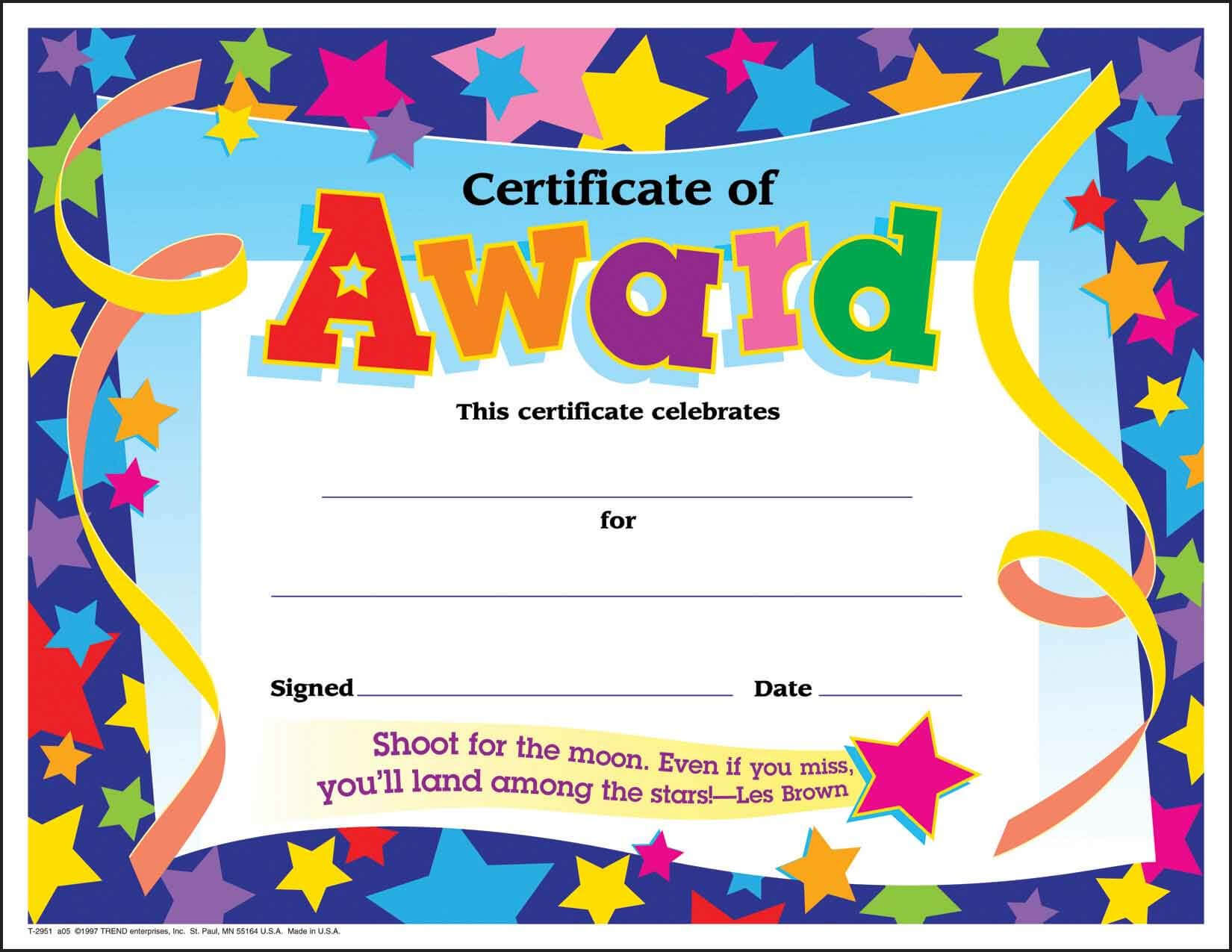 Certificate Template For Kids Free Certificate Templates Within Star Award Certificate Template