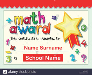 Certificate Template For Math Award Illustration Stock Inside Math Certificate Template