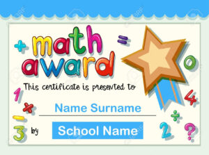 Certificate Template For Math Award With Golden Star Illustration inside Star Award Certificate Template