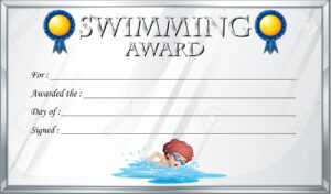Certificate Template For Swimming Award Illustration throughout Swimming Certificate Templates Free