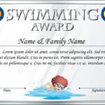 Certificate Template For Swimming Award Illustration within Swimming Award Certificate Template
