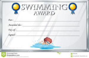 Certificate Template For Swimming Award Stock Vector within Swimming Award Certificate Template
