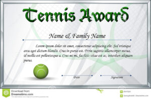 Certificate Template For Tennis Award Stock Vector with Tennis Certificate Template Free