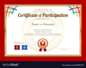 Certificate Template In Basketball Sport Theme Vector Image in Basketball Camp Certificate Template