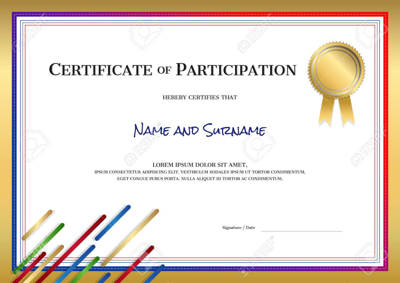 Certificate Template In Sport Theme With Border Frame, Diploma.. Throughout Athletic Certificate Template