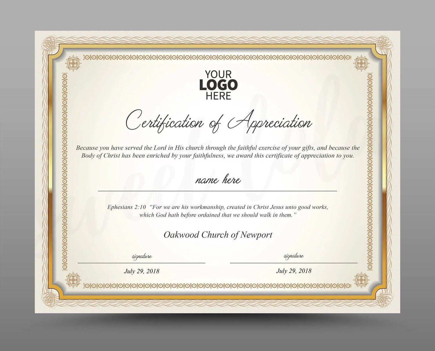 Certificate Template, Instant Download Certificate Of Appreciation -  Editable Ms Word Doc And Photoshop File Included Intended For Commemorative Certificate Template