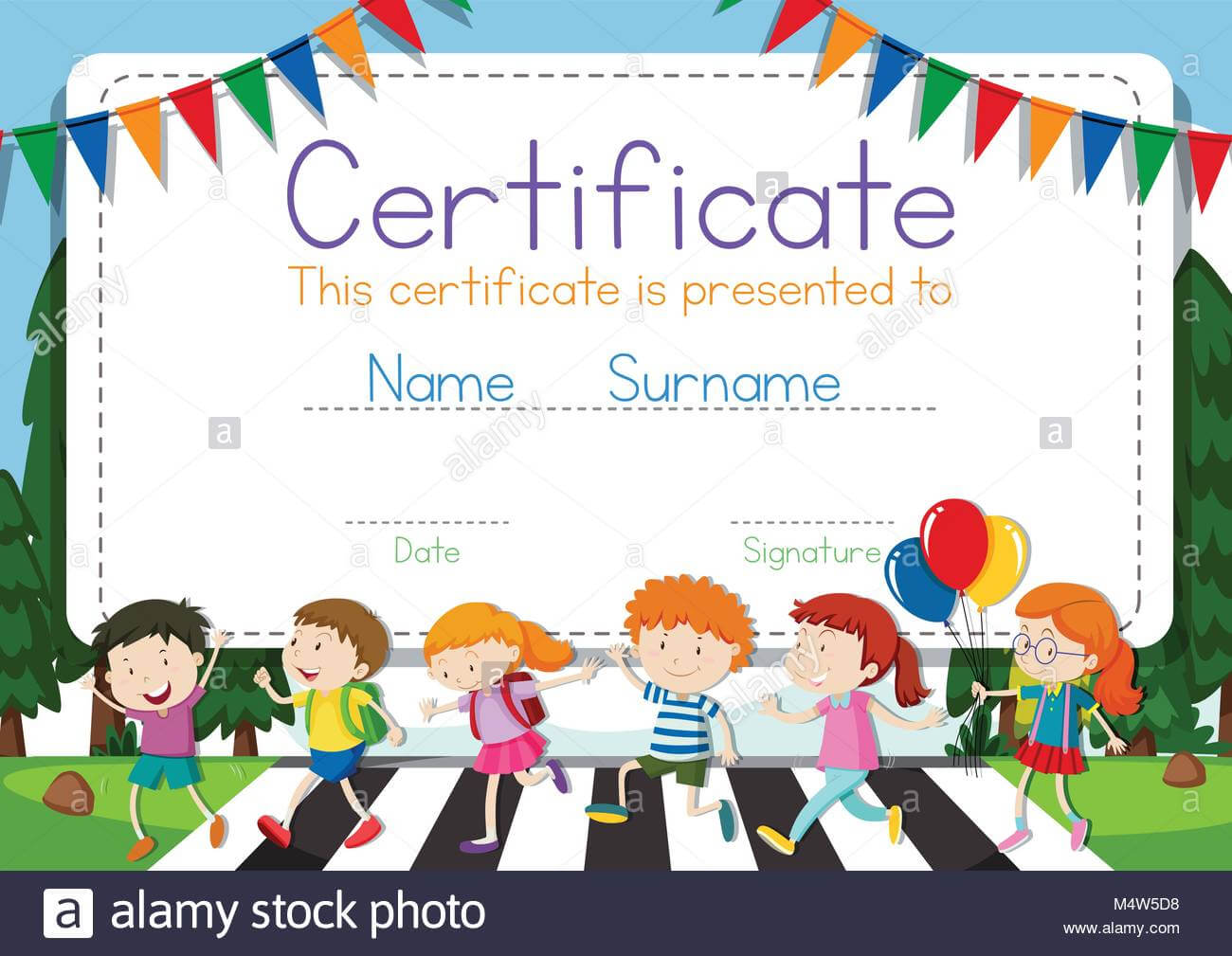 Certificate Template With Children Crossing Road Background With Children's Certificate Template